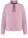 Блузка с декоративными завязками и оборками на воротнике oodji #SECTION_NAME# (фиолетовый), 11411091-2/36215/8000N
