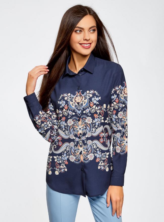 Блузка прямого силуэта с принтом oodji для женщины (синий), 21411112/46204/7933E