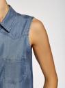 Топ из лиоцелла с нагрудными карманами oodji для женщины (синий), 19009007/42579/7500W