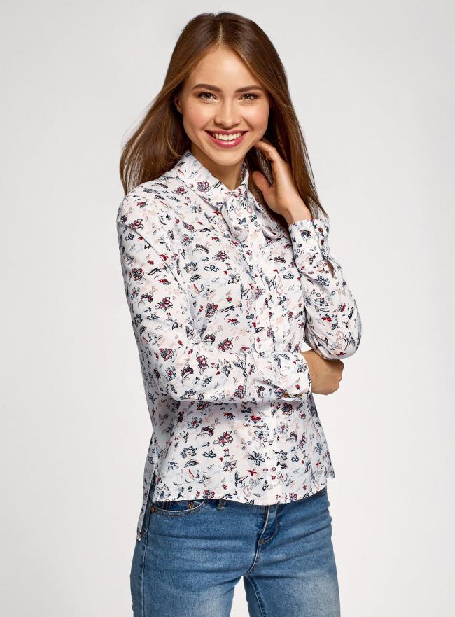 Блузка вискозная с декоративными завязками oodji #SECTION_NAME# (разноцветный), 11411118/24681/3079F