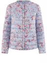Куртка стеганая с круглым вырезом oodji #SECTION_NAME# (синий), 10204040-1B/42257/7019F