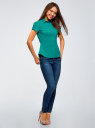 Рубашка хлопковая с коротким рукавом oodji #SECTION_NAME# (зеленый), 13K01004-1B/14885/6D00N - вид 6