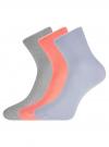Комплект из трех пар хлопковых носков oodji для женщины (разноцветный), 57102804T3/48022/32 - вид 2