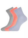 Комплект из трех пар хлопковых носков oodji #SECTION_NAME# (разноцветный), 57102804T3/48022/32 - вид 2
