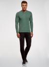 Пуловер базовый с V-образным вырезом oodji #SECTION_NAME# (зеленый), 4B212007M-1/34390N/6D00M - вид 6