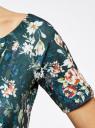 Платье трикотажное с вырезом-лодочкой oodji #SECTION_NAME# (зеленый), 14007026-2B/42588/6E43F - вид 5