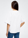 Рубашка хлопковая с V-образным вырезом oodji #SECTION_NAME# (белый), 13K05001/33113/1000N - вид 3