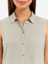 Топ вискозный с нагрудным карманом oodji для женщины (зеленый), 11411108B/45470/6000N