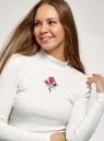 Водолазка из хлопка с вышивкой oodji для женщины (белый), 15E11009-7/48037/124CP