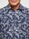 Рубашка принтованная с коротким рукавом oodji #SECTION_NAME# (синий), 3L410128M/48244N/7910F - вид 4