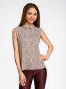Блузка базовая без рукавов с воротником oodji #SECTION_NAME# (коричневый), 11411084B/43414/4910F - вид 2