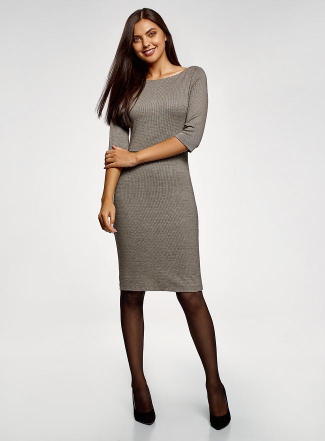 Платье приталенное с вырезом-лодочкой oodji #SECTION_NAME# (черный), 14011011-2/46979/2930G