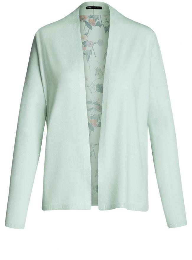 Кардиган из комбинированной ткани без застежки oodji для женщины (зеленый), 73212354-1/45641/6069F