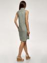 Платье хлопковое на кулиске oodji для женщины (зеленый), 11901147-6B/14885/6000N