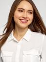 Блузка из струящейся ткани с регулировкой длины рукава oodji для женщины (белый), 11403225-10B/46123/1200N