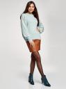 Джемпер свободного силуэта с круглым вырезом oodji для женщины (синий), 63807354/49489/6C12M