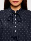Блузка вискозная с завязками на воротнике oodji #SECTION_NAME# (синий), 11411123/26346/7975D - вид 4