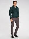Пуловер вязаный в полоску с шалевым воротником oodji #SECTION_NAME# (зеленый), 4L207016M/44407N/6900M - вид 6