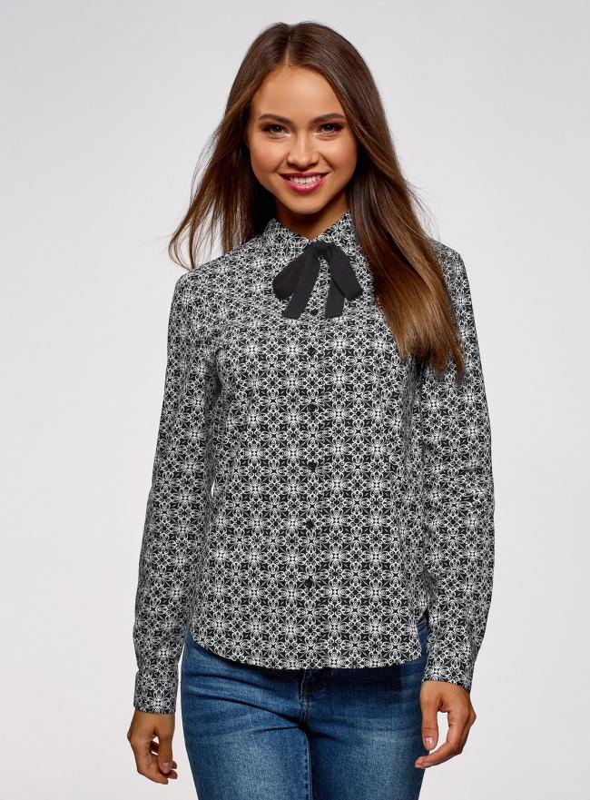 Рубашка хлопковая с завязками  oodji для женщины (черный), 13K11005/43609/2910G