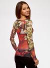 Блузка принтованная из прозрачной ткани oodji #SECTION_NAME# (оранжевый), 14211003/45401/5562U - вид 3