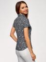 Рубашка хлопковая с коротким рукавом oodji #SECTION_NAME# (синий), 13K01004-1B/14885/7930F - вид 3