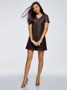 Платье из искусственной кожи с короткими рукавами oodji для женщины (коричневый), 18L03001/43578/3900N