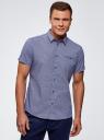Рубашка приталенная с мелкой графикой oodji #SECTION_NAME# (синий), 3L210056M/44425N/7510G - вид 2