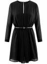 Платье из струящейся ткани с ремнем oodji для женщины (черный), 21913017/17358/2900N