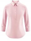 Рубашка базовая прилегающего силуэта с регулируемым рукавом oodji #SECTION_NAME# (розовый), 11406016-1/42468/4000N