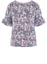 Блузка свободного силуэта с воланами на рукавах oodji #SECTION_NAME# (розовый), 11400450-1/36215/4080E