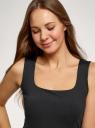 Топ из эластичной ткани на широких бретелях oodji для женщины (черный), 24315002-3B/45297/2900N