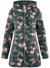 Куртка удлиненная с капюшоном oodji #SECTION_NAME# (зеленый), 10204058-1B/46708/6954F