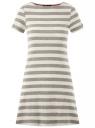 Платье A-образного силуэта с круглым вырезом oodji #SECTION_NAME# (серый), 14001201/48002/2312S