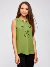 Топ из струящейся ткани с воланами oodji для женщины (зеленый), 21411108/36215/6200N - вид 2