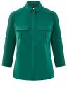 Блузка из струящейся ткани с нагрудными карманами oodji #SECTION_NAME# (зеленый), 11403225-6B/48853/6E02N