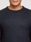 Джемпер ажурной вязки с круглым вырезом oodji #SECTION_NAME# (синий), 4L105066M/25365N/7900N - вид 4