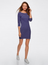 Платье трикотажное базовое oodji #SECTION_NAME# (синий), 14001071-2B/46148/7975S - вид 6