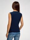 Жилет из струящейся ткани с поясом oodji для женщины (синий), 22305004-1/43859/7900N - вид 3
