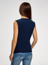 Жилет из струящейся ткани с поясом oodji #SECTION_NAME# (синий), 22305004-1/43859/7900N - вид 3