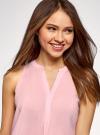 Топ базовый из вискозы oodji для женщины (розовый), 14911008-1B/48756/4000N - вид 4