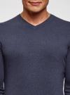 Пуловер базовый с V-образным вырезом oodji #SECTION_NAME# (синий), 4B212007M-1/34390N/7902M - вид 4