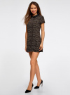 Платье мини с коротким рукавом oodji #SECTION_NAME# (бежевый), 11902153-1/45079/3329A - вид 6