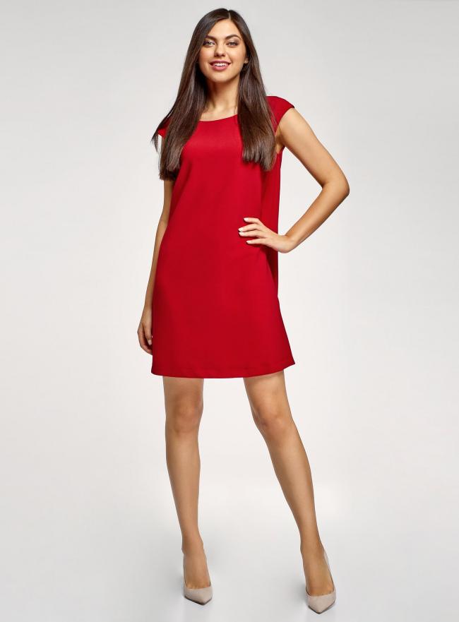 Платье прямого силуэта с глубоким вырезом на спине oodji #SECTION_NAME# (красный), 11905031/46068/4500N
