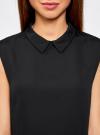 Блузка базовая без рукавов с воротником oodji #SECTION_NAME# (черный), 11411084B/43414/2900N - вид 4