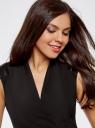Платье-футляр с контрастным элементом на плечах oodji для женщины (черный), 21900329/43135/2900N