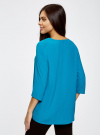 Блузка прямого силуэта с украшением oodji #SECTION_NAME# (бирюзовый), 21404021/43281/7300N - вид 3