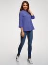 Блузка вискозная с регулировкой длины рукава oodji #SECTION_NAME# (синий), 11403225-9B/48458/7500N - вид 6