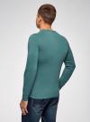 Пуловер с хлопковой вставкой на груди oodji #SECTION_NAME# (зеленый), 4B212006M/39245N/6D00B - вид 3