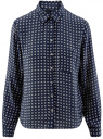 Блузка принтованная из шифона oodji #SECTION_NAME# (синий), 11400394-5/36215/7920G