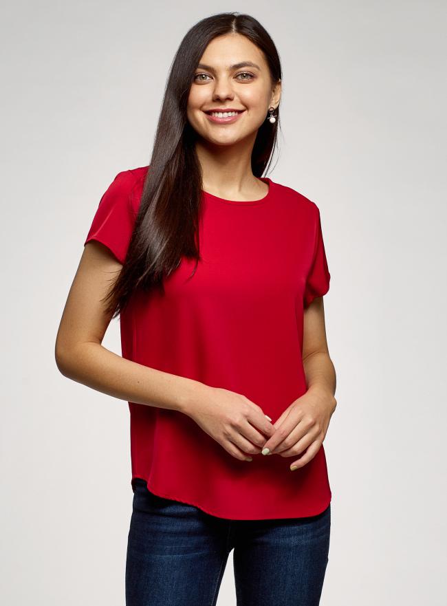 Блузка прямого силуэта с коротким рукавом oodji для женщины (красный), 11411138-3B/48728/4500N